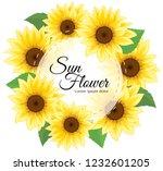sunflower invitation. yellow... | Shutterstock .eps vector #1232601205