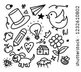 handdrawn doodles of various... | Shutterstock .eps vector #1232610802