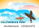 on the image the ocean coast with the surfer is presented - stock vector