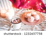 cup of coffee with sweets ... | Shutterstock . vector #1232657758