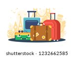 flat set suitcases on... | Shutterstock .eps vector #1232662585