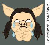 emoji with poor upset pig gal... | Shutterstock .eps vector #1232673505