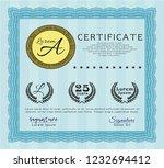 light blue certificate template ...   Shutterstock .eps vector #1232694412