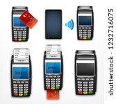 set of pos terminal. vector... | Shutterstock .eps vector #1232716075