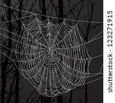 realistic spider web over black ... | Shutterstock .eps vector #123271915