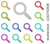 magnifier icon in multi color...