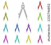 compass icon in multi color...
