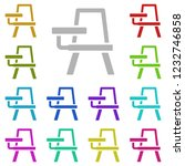 school desk icon in multi color ...