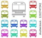 school bus icon in multi color...