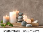 composition with spa stones on... | Shutterstock . vector #1232747395