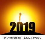silhouette woman looking... | Shutterstock .eps vector #1232759092