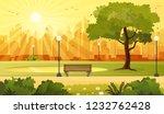 summer sunset city park... | Shutterstock .eps vector #1232762428