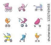 baby stroller icons set. flat... | Shutterstock .eps vector #1232765455