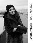 beautiful lady in gray fur coat ... | Shutterstock . vector #1232784568