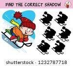little boy sledding down the...   Shutterstock .eps vector #1232787718