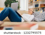 woman spending a relaxing day... | Shutterstock . vector #1232795575