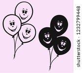 air balloons vector silhouette... | Shutterstock .eps vector #1232799448