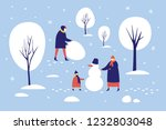 image of winter family walk in... | Shutterstock .eps vector #1232803048