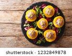 delicious appetizer peaches... | Shutterstock . vector #1232849878