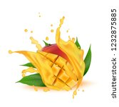 juice milk yogurt mango cubes... | Shutterstock . vector #1232875885