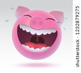 pig laughs to tears 3d style....   Shutterstock .eps vector #1232879275
