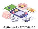 mobile repair and service... | Shutterstock .eps vector #1232884102