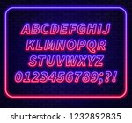 blue red gradient neon alphabet ... | Shutterstock .eps vector #1232892835