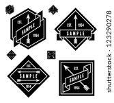 Stock vector monochrome geometric label with arrow 123290278