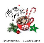 red cup of coffee with a... | Shutterstock .eps vector #1232912845