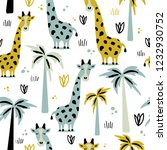 giraffes and palm trees  hand... | Shutterstock .eps vector #1232930752