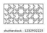 32 white puzzles pieces... | Shutterstock . vector #1232932225