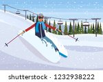 skier man sliding down fresh...