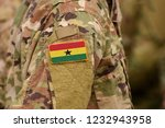 ghana flag on soldiers arm.... | Shutterstock . vector #1232943958