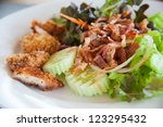 bacon salad with deep fried... | Shutterstock . vector #123295432