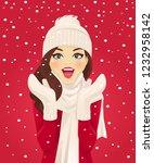 surprised woman having fun in... | Shutterstock .eps vector #1232958142