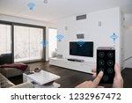 modern smarthome living room... | Shutterstock . vector #1232967472