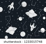hand drawn space elements... | Shutterstock .eps vector #1233015748