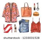 watercolor sketch casual... | Shutterstock . vector #1233031528