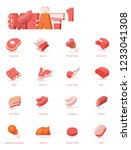 vector meat icon set. includes... | Shutterstock .eps vector #1233041308