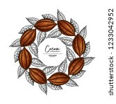 cocoa frame. vector superfood... | Shutterstock .eps vector #1233042952