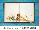 vintage recipe book with empty... | Shutterstock . vector #1233059848