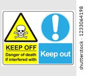 "plate  ""keep off. danger of... | Shutterstock .eps vector #1233064198"