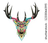 stylized colorful deer portrait ... | Shutterstock .eps vector #1233066595