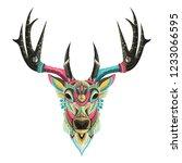 stylized colorful deer portrait ...   Shutterstock .eps vector #1233066595