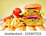 double cheeseburger on the... | Shutterstock . vector #123307222