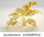 3d rendering golden plants.... | Shutterstock . vector #1233089512