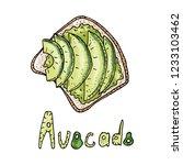 avocado toast. fresh toasted... | Shutterstock .eps vector #1233103462