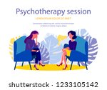psychotherapy session. woman... | Shutterstock .eps vector #1233105142