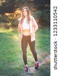 beautiful young sportive woman...   Shutterstock . vector #1233110542