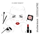 makeup tutorial  classic makeup ... | Shutterstock .eps vector #1233116782